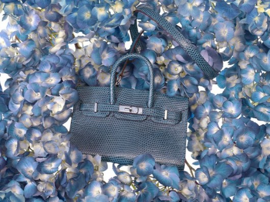 Hermès Tiny Birkin in Blue Mykonos Lizard