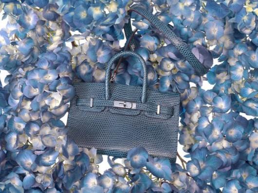 Hermès Tiny Birkin in Blue Mykonos Lizard