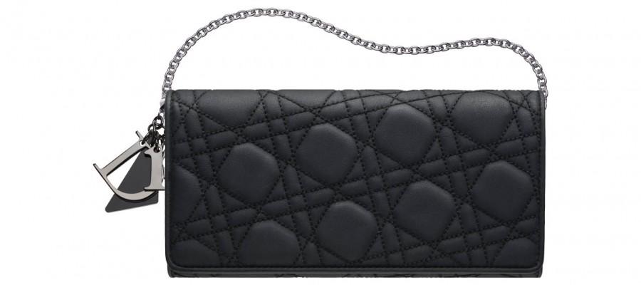 Сумочка «Lady Dior» из черной матовой кожи