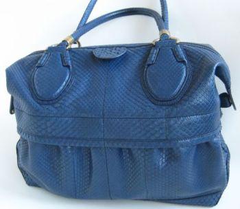 Tod's: сумка Blue Python Helmut